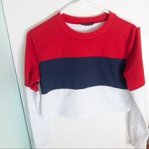 4/$20Mark Edwards Colour Blocked Cropped Top